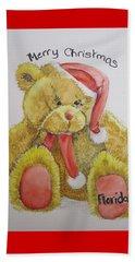 Merry Christmas Teddy  Beach Sheet