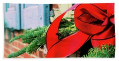 Merry Christmas Window Bow Beach Sheet