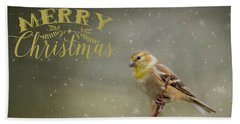 Merry Christmas Winter Goldfinch 1 Beach Towel