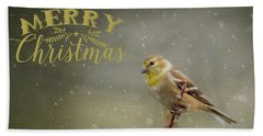Merry Christmas Winter Goldfinch 1 Beach Sheet