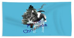 Beach Towel featuring the digital art Merry Old Santa by Asok Mukhopadhyay