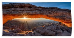 View Through The Mesa Arch At  Sunrise Beach Towel