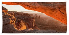 Mesa Arch Sunrise 5 - Canyonlands National Park - Moab Utah Beach Sheet by Brian Harig