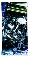 Metal Anonymous Mask On Motherboard Beach Towel
