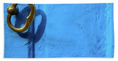 Beach Sheet featuring the photograph Metal Knob Blue Door by Prakash Ghai
