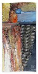 Beach Towel featuring the mixed media Metallic Fall With Blue by Phyllis Howard