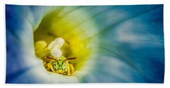 Metallic Green Bee In Blue Morning Glory Beach Sheet