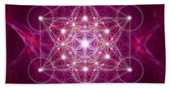 Beach Sheet featuring the digital art Metatron Cube Fractal by Alexa Szlavics