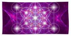 Metatron Cube Mandala Beach Sheet