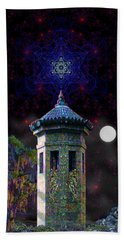Beach Towel featuring the digital art Metatron Nocturnal by Iowan Stone-Flowers