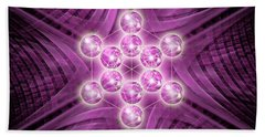 Beach Sheet featuring the digital art Metatron's Cube Atomic by Alexa Szlavics