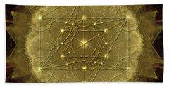 Beach Towel featuring the digital art Metatron's Cube Geometric by Alexa Szlavics