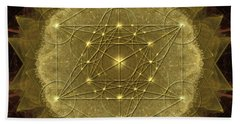 Beach Sheet featuring the digital art Metatron's Cube Geometric by Alexa Szlavics