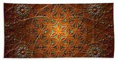 Beach Sheet featuring the digital art Metatron's Cube Inflower Of Life by Alexa Szlavics