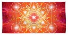 Beach Towel featuring the digital art Metatron's Cube Light by Alexa Szlavics