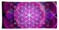 Beach Towel featuring the digital art Metatron's Cube On Fractal Pletals by Alexa Szlavics