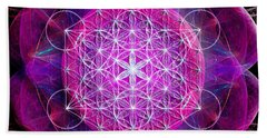 Beach Sheet featuring the digital art Metatron's Cube On Fractal Pletals by Alexa Szlavics
