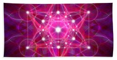 Beach Sheet featuring the digital art Metatron's Cube Reflection by Alexa Szlavics