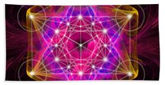 Metatron's Cube With Flower Of Life Beach Towel