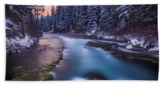 Beach Towel featuring the photograph Metolius Sunset by Cat Connor