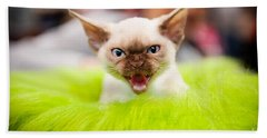 Mew Kitty Funny Mad Face Beach Towel