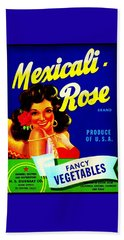 Mexicali Rose Vintage Vegetable Crate Label Beach Towel