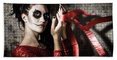 Mexico Sugar Skull Girl Performing Death Dance Beach Towel