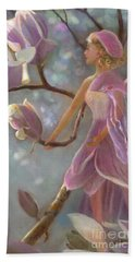 Beach Towel featuring the painting Mia Magnolia Fairy by Nancy Lee Moran