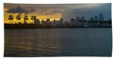 Miami At The Edge Of Twilight Beach Towel by Ronald Spencer