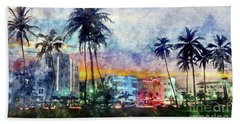 Miami Beach Watercolor Beach Towel by Jon Neidert
