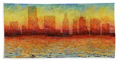 Miami Skyline 5 Beach Towel by Andrew Fare