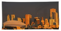 Miami Skyline At Sunset Beach Towel by Christiane Schulze Art And Photography