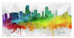 Miami Skyline Mmr-usflmi05 Beach Sheet by Aged Pixel