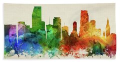 Miami Skyline Panorama Usflmi-pa03 Beach Towel by Aged Pixel