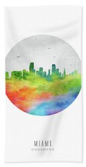 Miami Skyline Usflmi20 Beach Towel by Aged Pixel