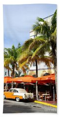 Miami South Beach Ocean Drive 8 Beach Towel by Nina Prommer