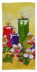 Mice With Candles Beach Towel by Diane Matthes
