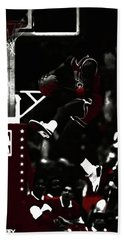 Beach Towel featuring the mixed media Michael Jordan Rise And Shine by Brian Reaves