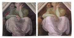 Restoration Before And After Michelangelo Ancestors Sistine Chapel  Beach Sheet by Suzanne Powers