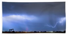 Beach Towel featuring the photograph Michelangelo Lightning Strikes Oil by James BO Insogna