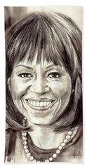 Michelle Obama Watercolor Portrait Beach Towel