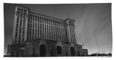 Michigan Central Station At Midnight Beach Sheet