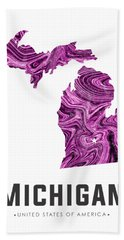 Michigan Map Art Abstract In Purple Beach Towel