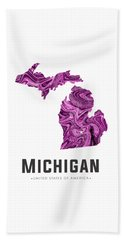 Michigan Map Art Abstract In Purple Beach Towel