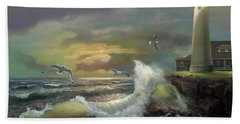 Michigan Seul Choix Point Lighthouse With An Angry Sea Beach Towel