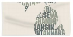 Michigan State Outline Word Map Beach Towel