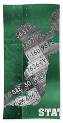 Michigan State Spartans Receiver Recycled Michigan License Plate Art Beach Towel