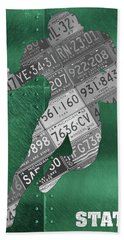Michigan State Spartans Running Back Recycled Michigan License Plate Art Beach Towel