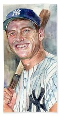 Mickey Mantle Portrait Beach Towel