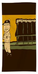 Mickey Mantle Yankee Stadium Beach Towel by Jay Perkins